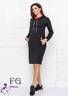 Черное демисезонное спортивное платье-худи миди с горловиной и карманами