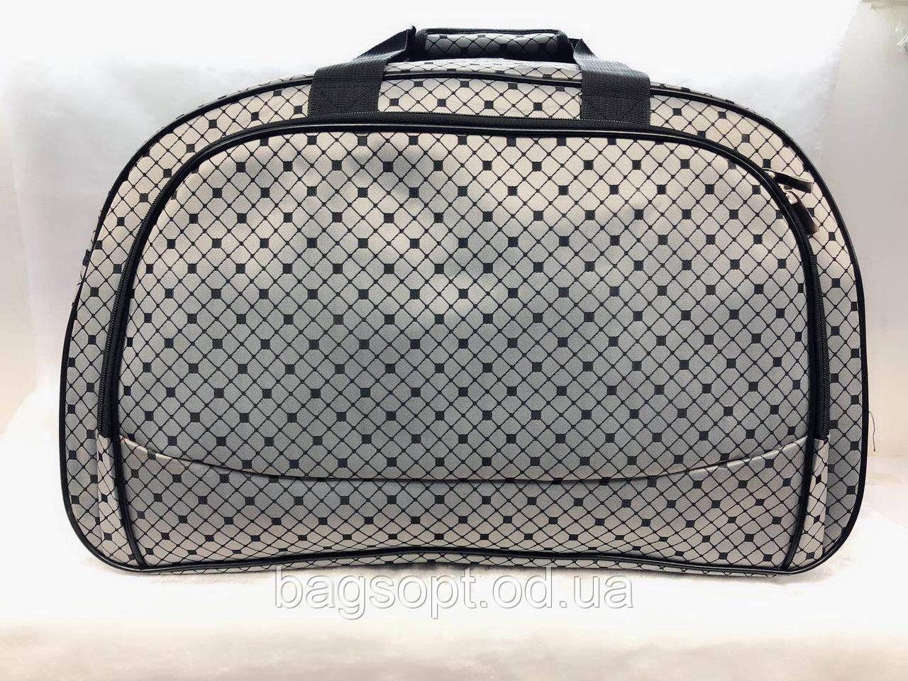 Женская вместительная сумка-саквояж дорожная серая