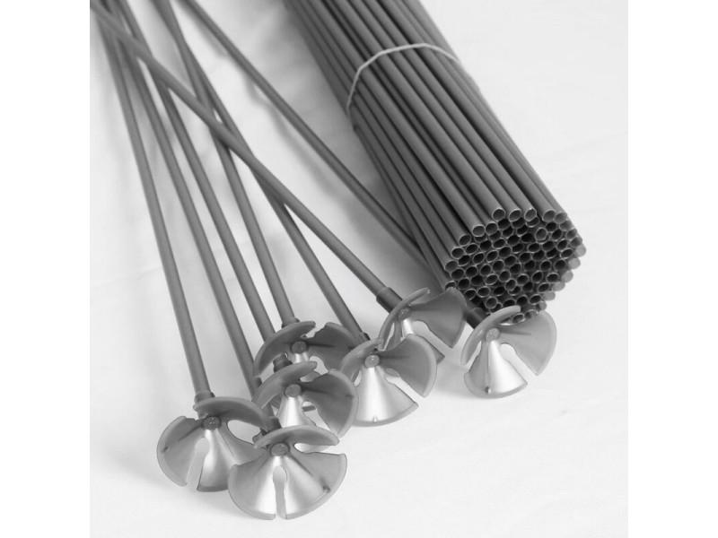 Палочка-держатель для воздушных шаров серебряная высота 50 см