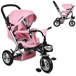 Нежно розовый детский велосипед трехколесный M AL3645A-10 с надувными колесами