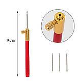 Иглы-крючок для люневильской тамбурной вышивки набор ручка + 3 иглы, фото 3