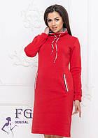 Спортивное платье-худи на весну по колено с воротником под горло большие размеры красное
