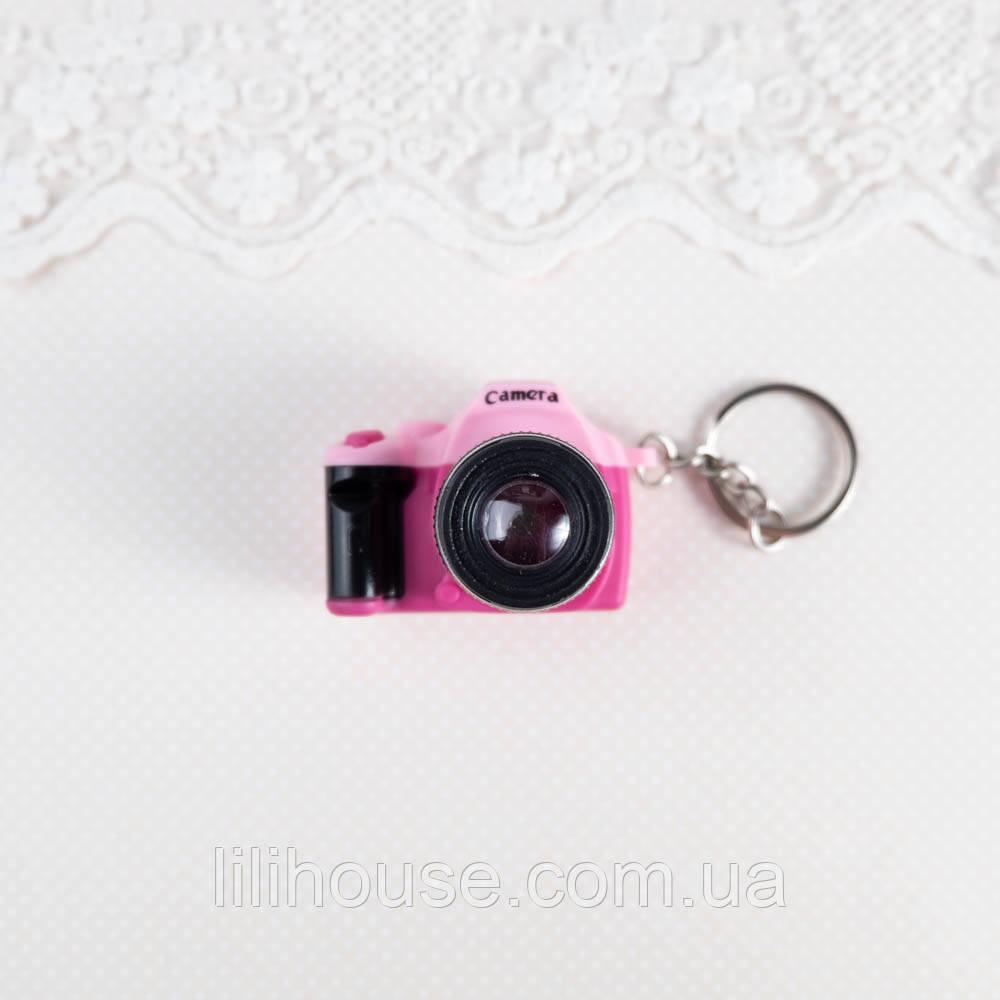 Миниатюра фотоаппарат, розовый с красным - 4*5*3 см