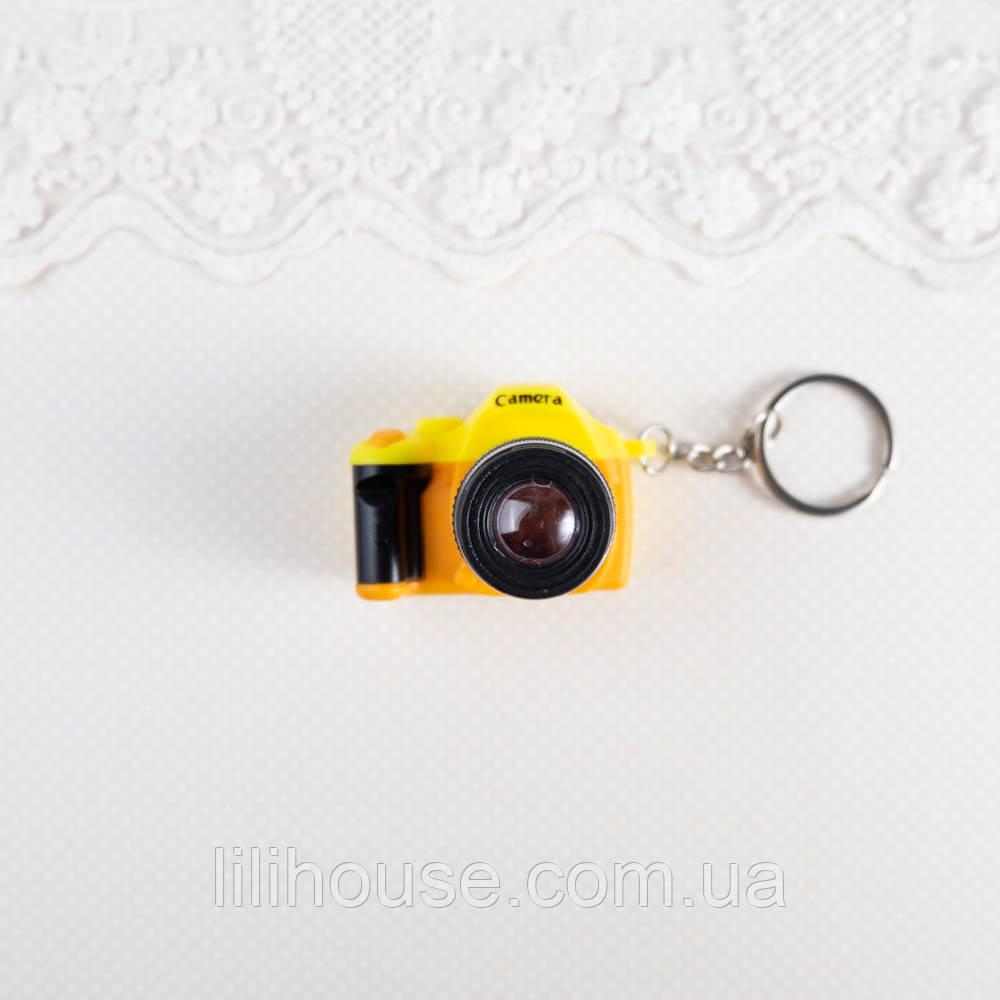 Миниатюра фотоаппарат, желтый с оранжевым - 4*5*3 см