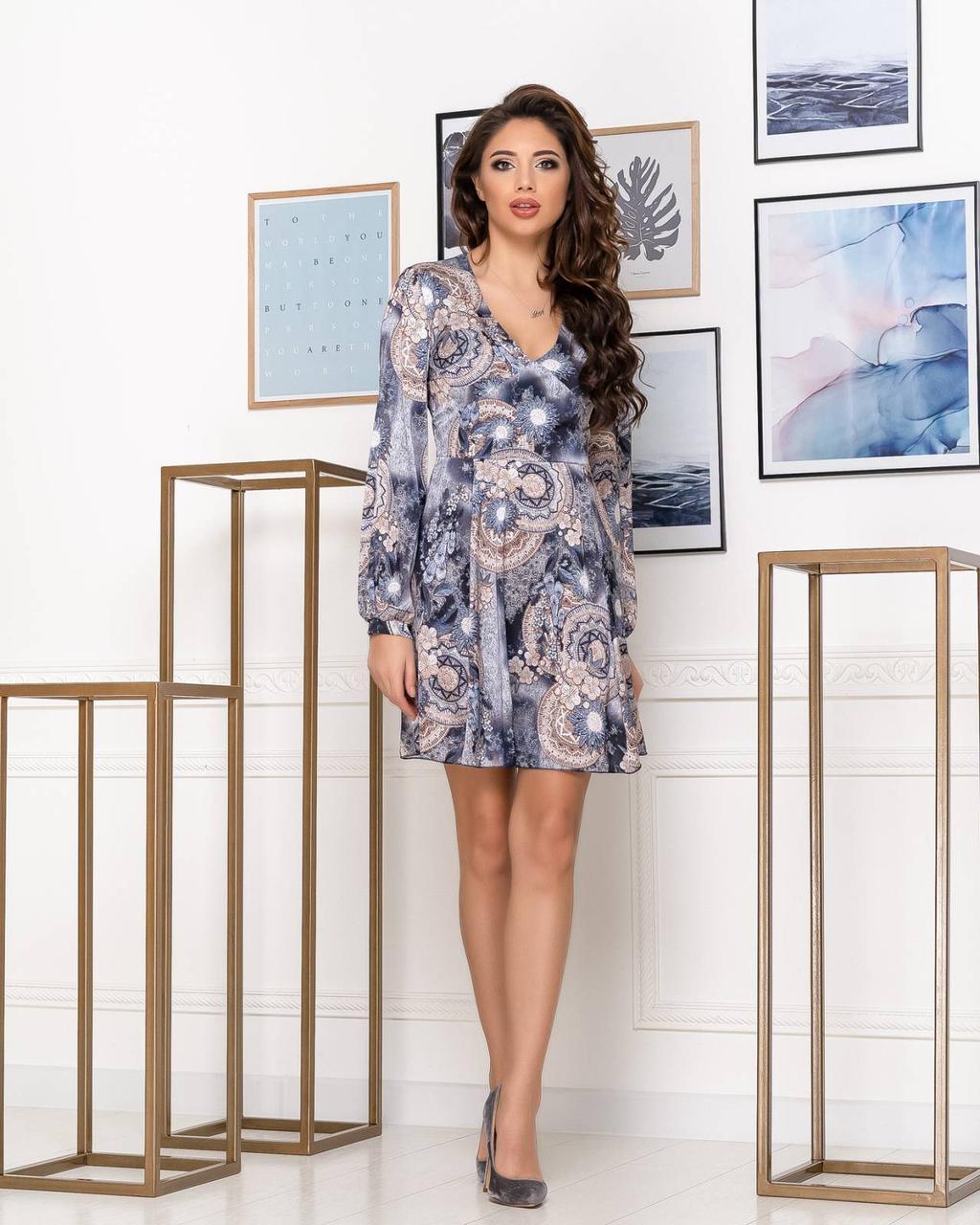 Платье NOBILITAS 42 - 48 синее шелк с принтом (арт. 20007)