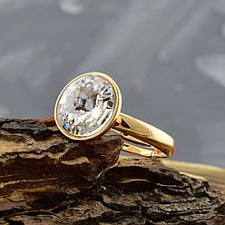 Кольцо Xuping с кристаллами Swarovski 14205 размер регулируемый 16-18 цвет белый позолота 18К