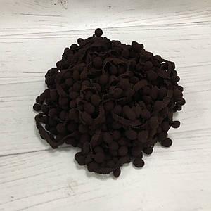 Тесьма с помпонами темно-коричневая 15мм №34
