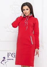 Платье-худи в спортивном стиле с воротником-горловиной и карманами большие размеры серое, фото 3