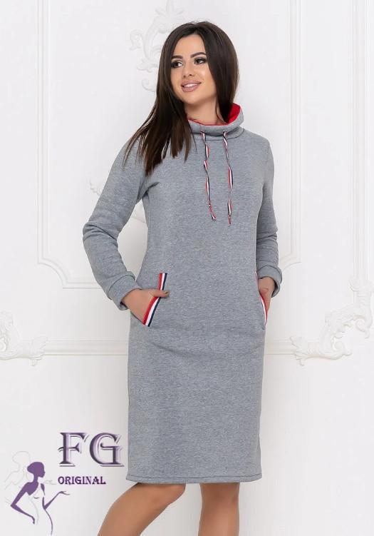 Платье-худи в спортивном стиле с воротником-горловиной и карманами большие размеры серое