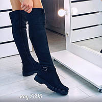Зимнее ботфорты из эко-замши черного цвета с мехом по всей длине на низком ходу  (7А)