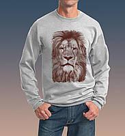 Толстовка мужская Лев в очках серая