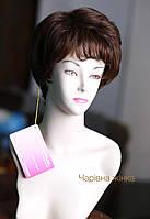 Парик женский короткая объемная стрижка из натуральных волос, цвет шоколад