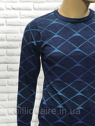 Чоловічий приталений джемпер синій, фото 2