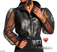 Черная женская блузка из эко-кожи