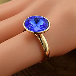 Кольцо Xuping с кристаллами Swarovski 14205 размер регулируемый 16-18 цвет синий позолота 18К