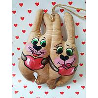 Ароматизированная мягкая игрушка Зайцы неразлучники  ручной работы с запахом кофе, ванили и корицы.