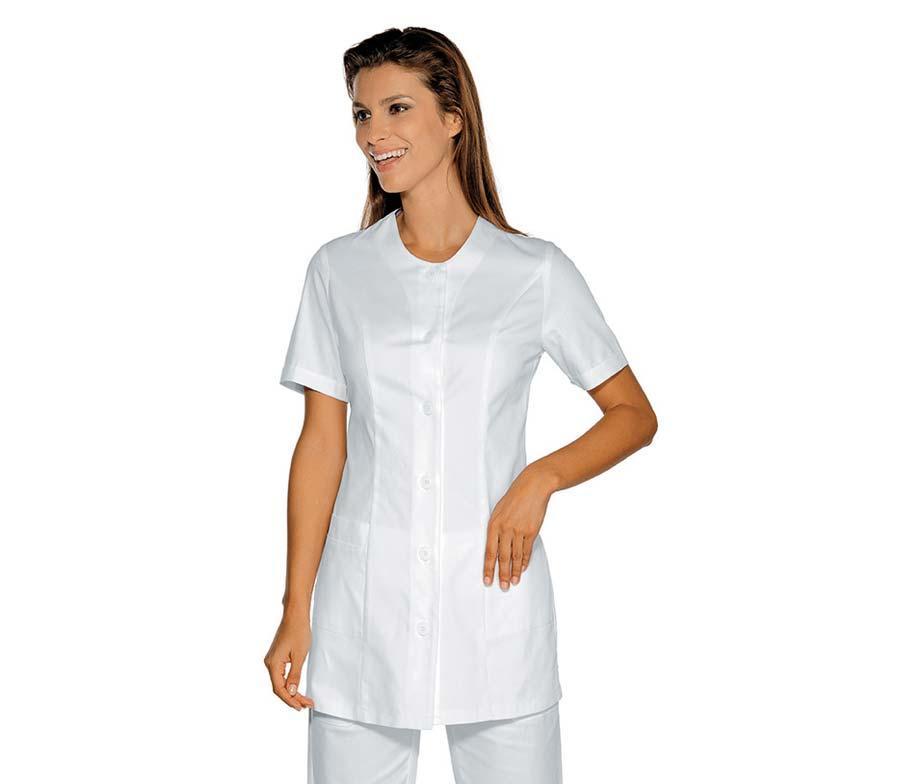 Медицинский халат женский белый на пуговицах без воротника - 03412