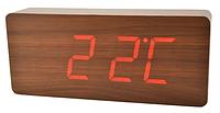 Стильные настольные часы под дерево VST865 с красной подсветкой, фото 3