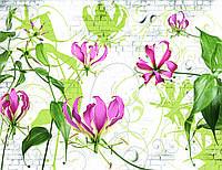 ЗД Фотообои Кирпичная стена с цветами  арт. 6260720193