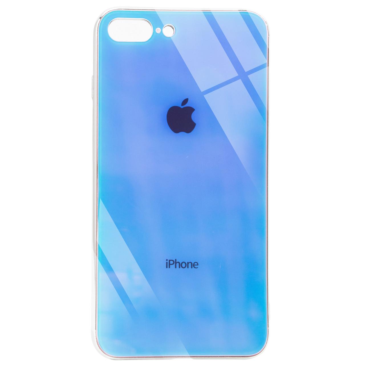 "TPU+Glass чехол Gradient Rainbow с лого для Apple iPhone 7 plus / 8 plus (5.5"")"