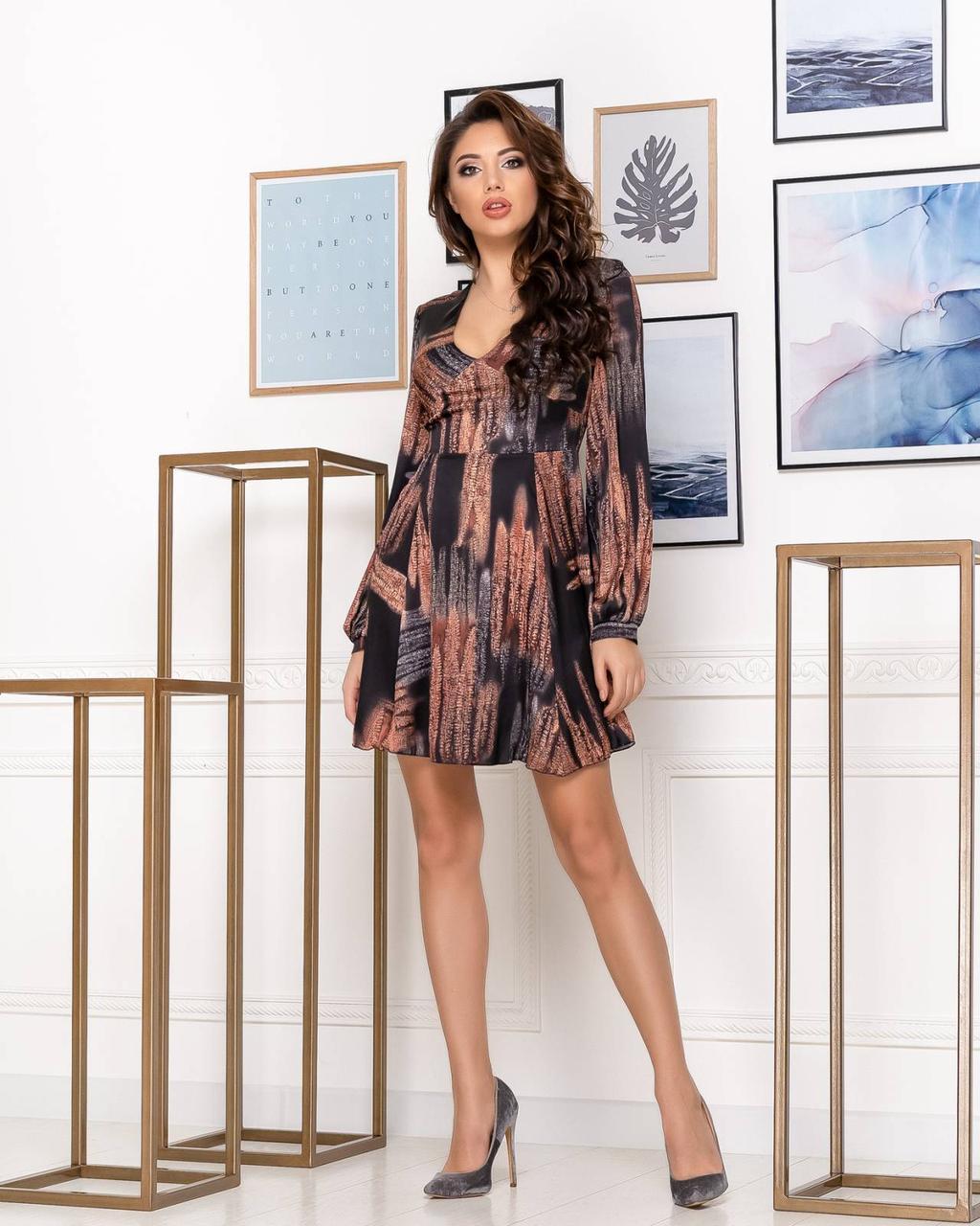 Сукня NOBILITAS 42 - 48 коричневе шовк з принтом (арт. 20007)