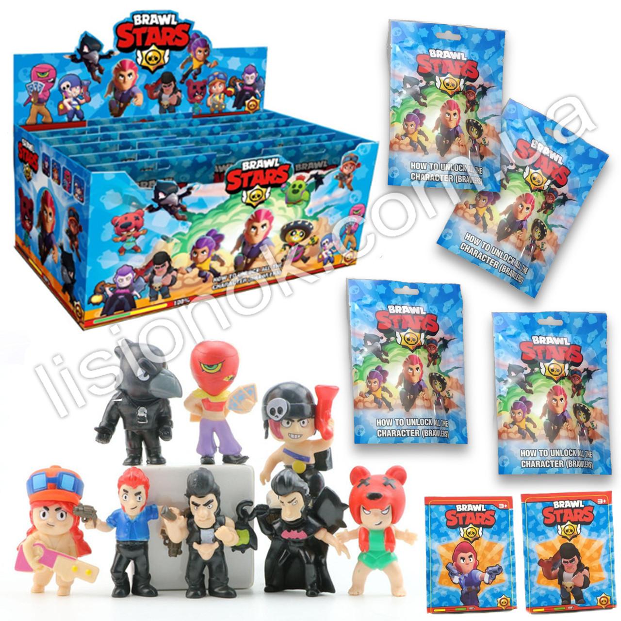 Набор фигурок Brawl Stars с карточкой в пакете - 8 разных героев, коллекционные фигурки из игры Бравл Старс