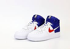 Кроссовки мужские Найк Nike Air Force White Blue. ТОП Реплика ААА класса., фото 3