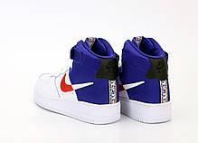 Кроссовки мужские Найк Nike Air Force White Blue. ТОП Реплика ААА класса., фото 2
