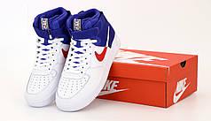 Кроссовки мужские Найк Nike Air Force White Blue. ТОП Реплика ААА класса.
