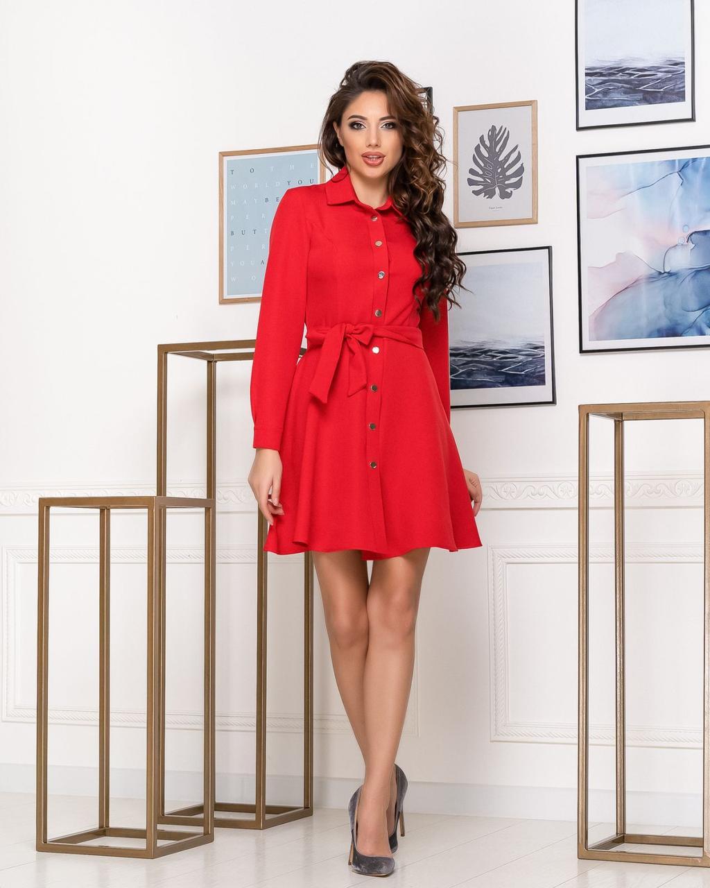Платье с поясом NOBILITAS 42 - 48 красное костюмная ткань (арт. 20008)