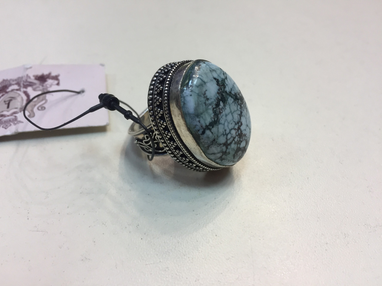 Бірюза в сріблі кільце овал з бірюзою розмір 18,5.