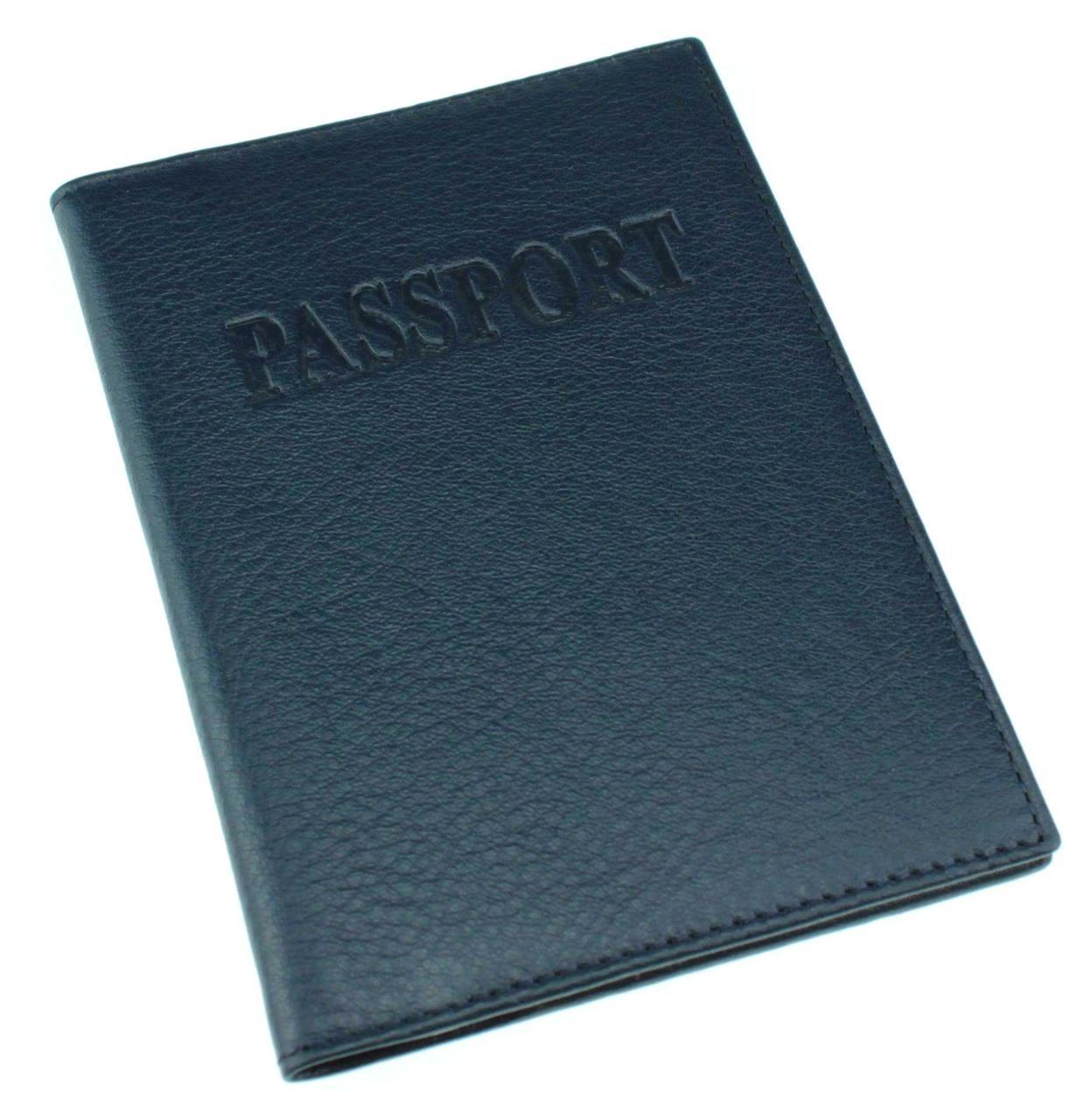 Кожаная обложка на паспорт Eminsa 1523-18-19 синяя
