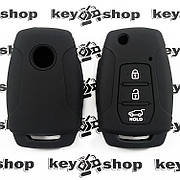 Чохол (чорний, силіконовий) для выкидного ключа SsangYong (СангЕнг) 3 кнопки