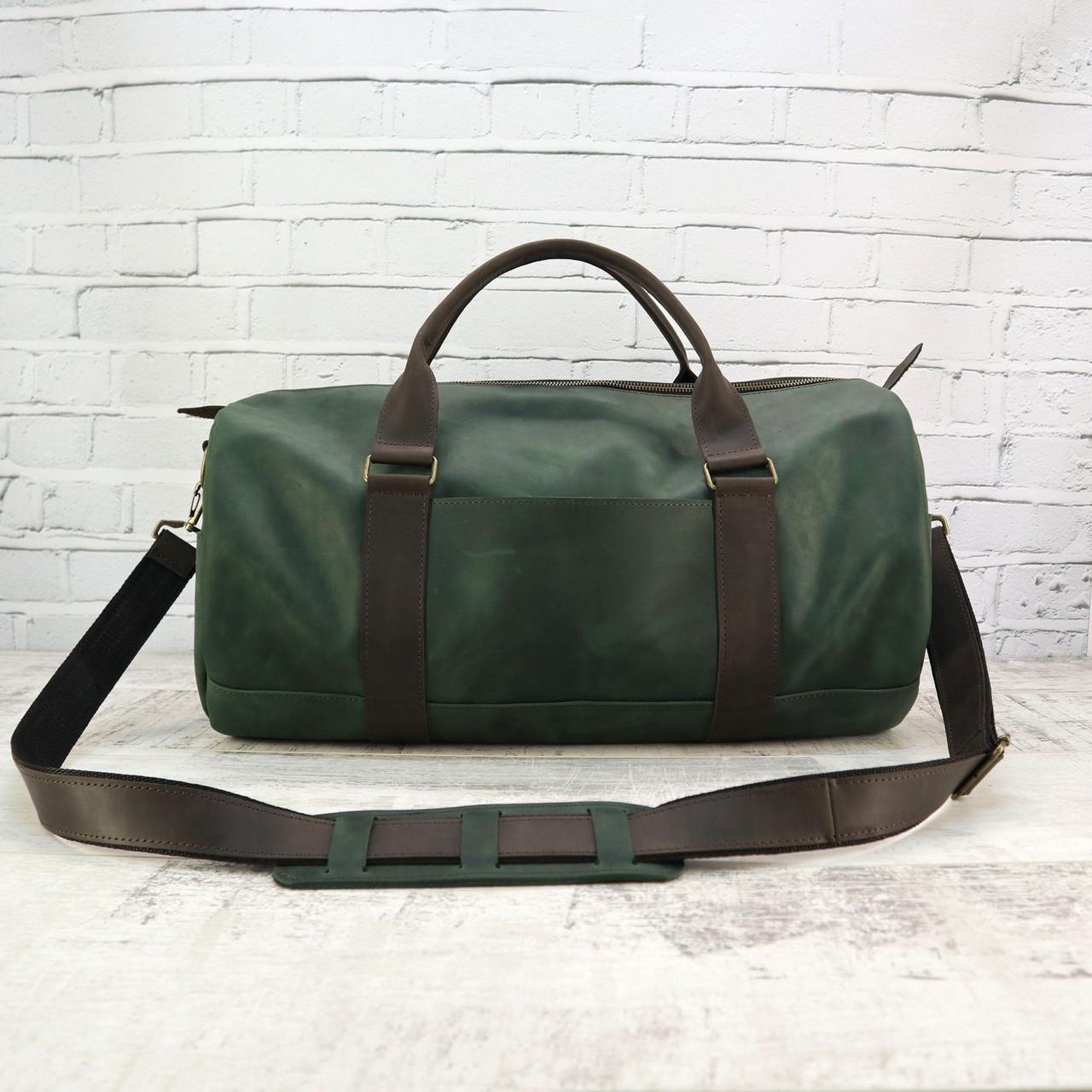 Дорожная сумка tube mini зелёная из натуральной кожи crazy horse