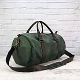Дорожная сумка tube mini зелёная из натуральной кожи crazy horse, фото 5