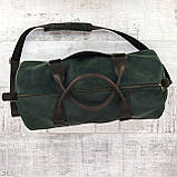 Дорожная сумка tube mini зелёная из натуральной кожи crazy horse, фото 3