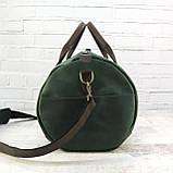 Дорожная сумка tube mini зелёная из натуральной кожи crazy horse, фото 7