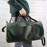 Дорожная сумка tube mini зелёная из натуральной кожи crazy horse, фото 9
