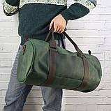 Дорожная сумка tube mini зелёная из натуральной кожи crazy horse, фото 4
