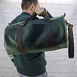 Дорожная сумка tube mini зелёная из натуральной кожи crazy horse, фото 2