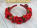 Обруч-венок с розами и калиной красный ручная работа, фото 2