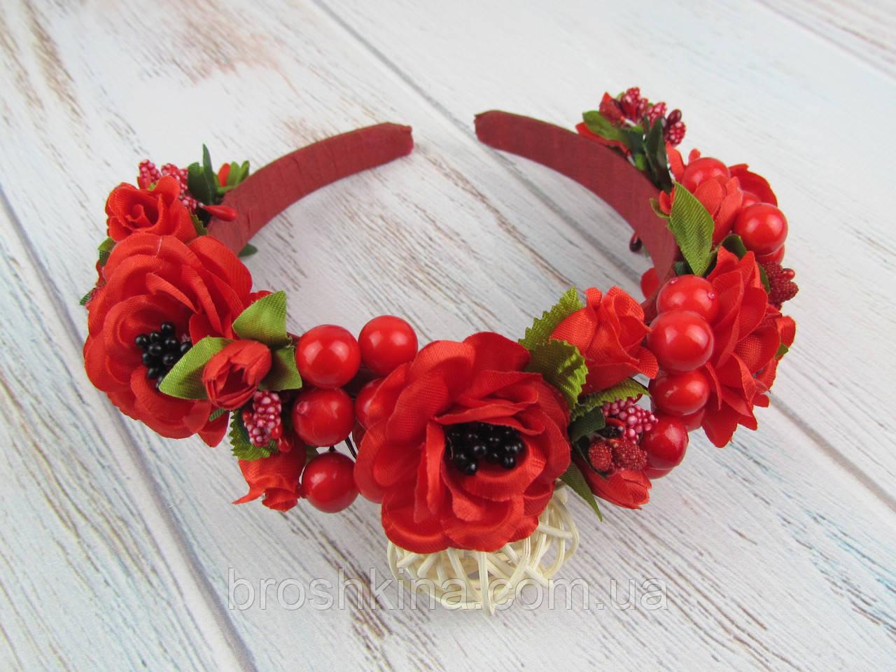 Обруч-венок с розами и калиной красный ручная работа