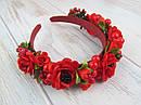 Обруч-венок с розами и калиной красный ручная работа, фото 4