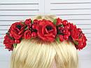 Обруч-венок с розами и калиной красный ручная работа, фото 5