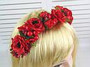 Обруч-венок с розами и калиной красный ручная работа, фото 6