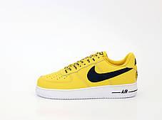 Мужские кроссовки Nike Air Force AF-1. Yellow White. ТОП Реплика ААА класса., фото 3