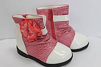 Ботинки белые с розовым р.22