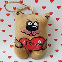 Ароматизированная мягкая игрушка Влюбленный Мишка с сердечком ручной работы с запахом кофе, ванили и корицы.