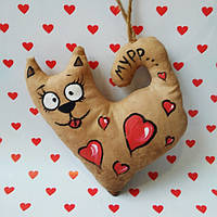 Ароматизированная мягкая игрушка Влюбленный котик  Мурчик ручной работы с запахом кофе, ванили и корицы.