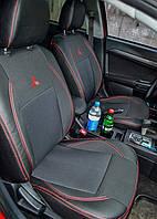 Чехлы на сиденья Ауди А4 (Audi A4) (модельные, экокожа+автоткань, отдельный подголовник)